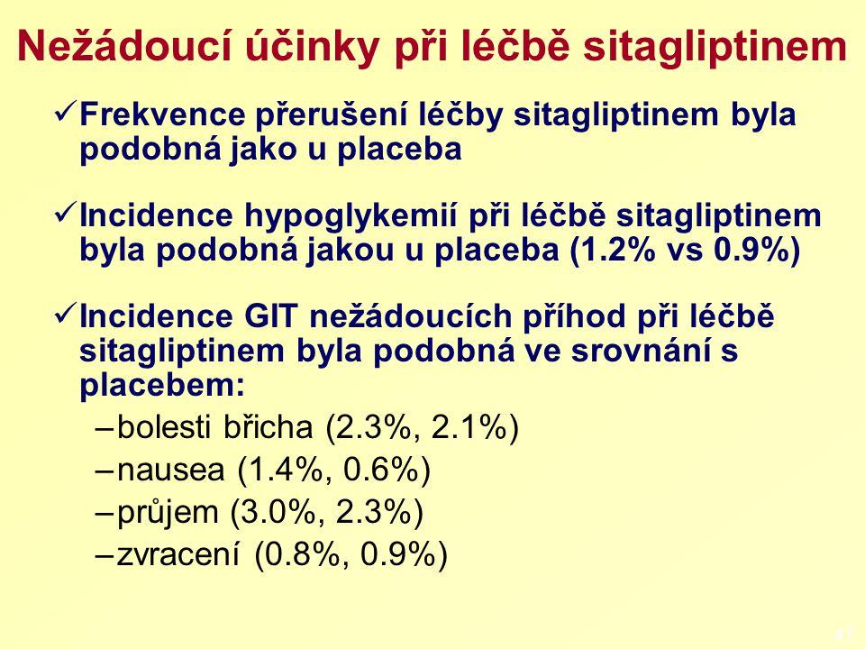 Nežádoucí účinky při léčbě sitagliptinem Frekvence přerušení léčby sitagliptinem byla podobná jako u placeba Incidence hypoglykemií při léčbě sitagliptinem byla podobná jakou u placeba (1.2% vs 0.9%) Incidence GIT nežádoucích příhod při léčbě sitagliptinem byla podobná ve srovnání s placebem: –bolesti břicha (2.3%, 2.1%) –nausea (1.4%, 0.6%) –průjem (3.0%, 2.3%) –zvracení (0.8%, 0.9%) 47