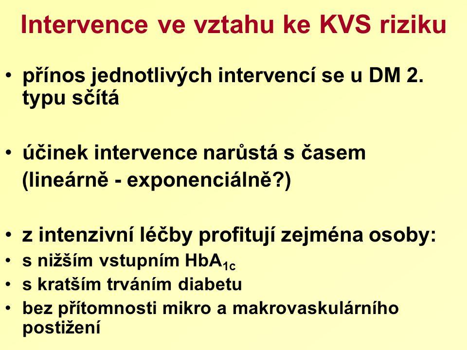 Intervence ve vztahu ke KVS riziku přínos jednotlivých intervencí se u DM 2. typu sčítá účinek intervence narůstá s časem (lineárně - exponenciálně?)