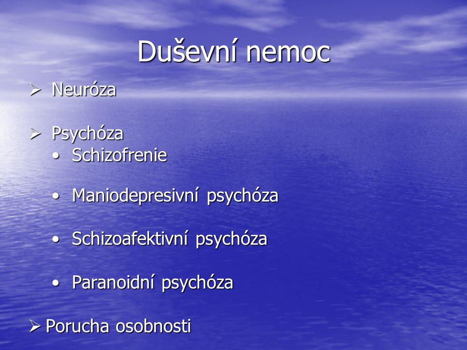 Duševní nemoc  Neuróza  Psychóza Schizofrenie Schizofrenie Maniodepresivní psychóza Maniodepresivní psychóza Schizoafektivní psychóza Schizoafektivní psychóza Paranoidní psychóza Paranoidní psychóza  Porucha osobnosti