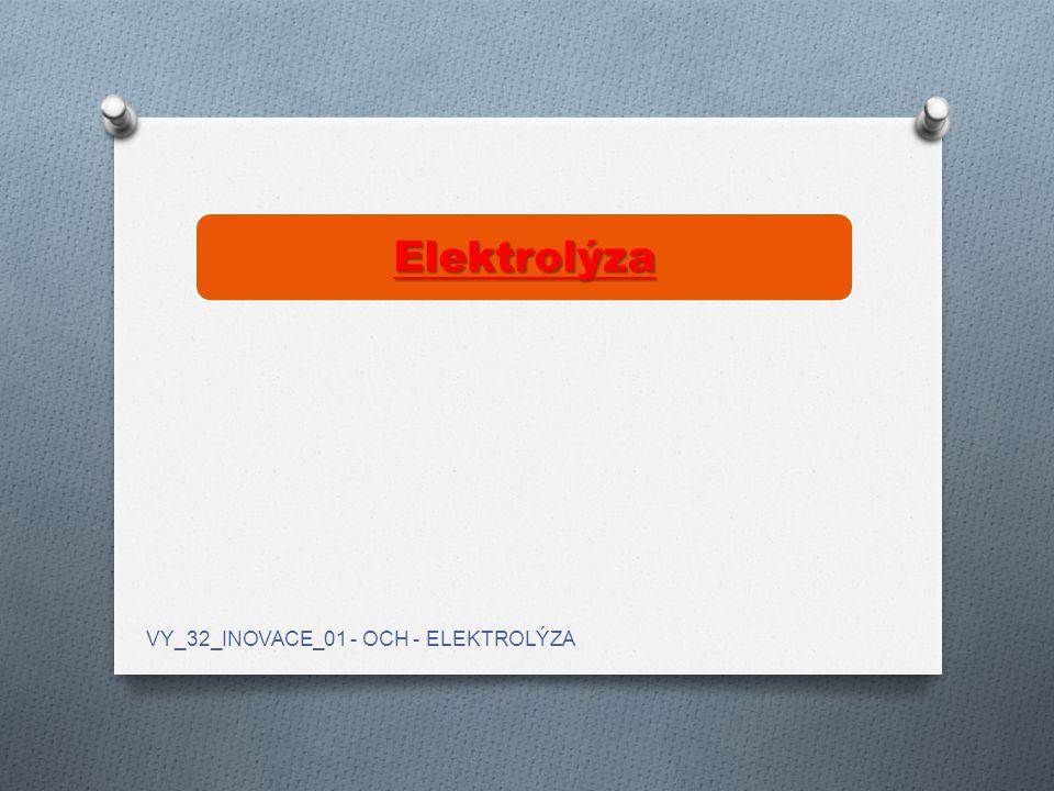 Elektrolýza je děj probíhající na elektrodách při průchodu stejnosměrného elektrického proudu roztokem nebo taveninou.