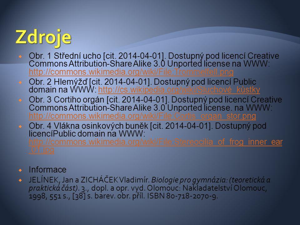  Obr. 1 Střední ucho [cit. 2014-04-01]. Dostupný pod licencí Creative Commons Attribution-Share Alike 3.0 Unported license na WWW: http://commons.wik