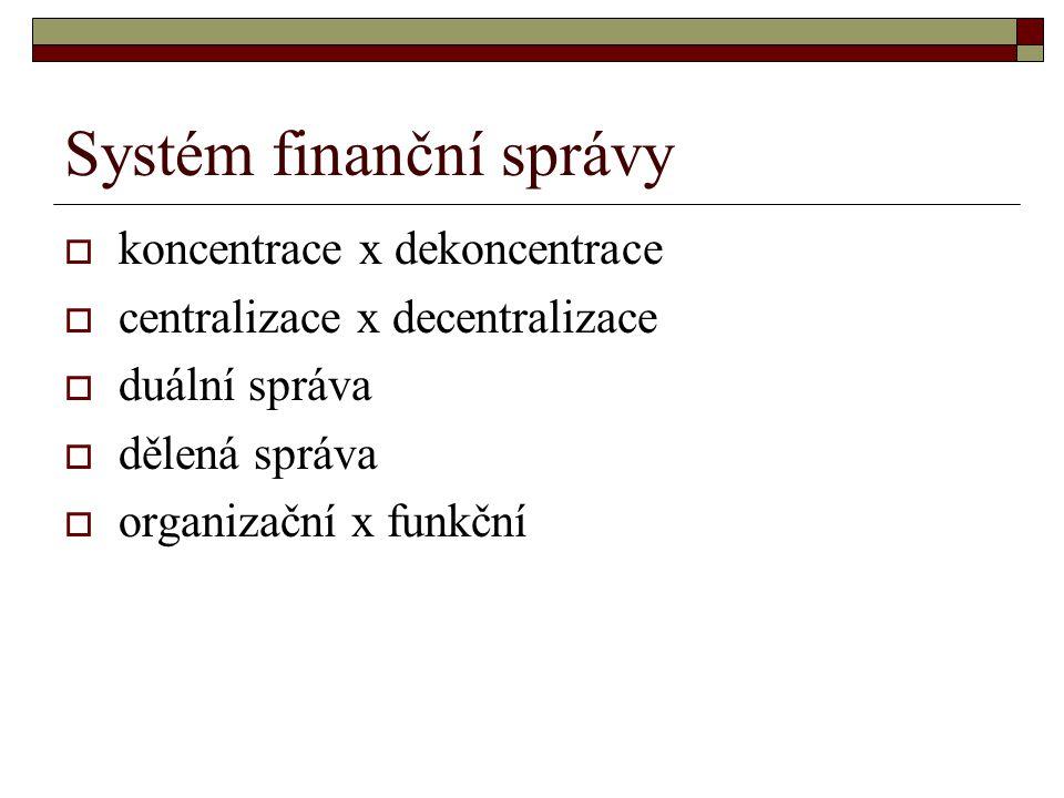 Systém finanční správy  koncentrace x dekoncentrace  centralizace x decentralizace  duální správa  dělená správa  organizační x funkční
