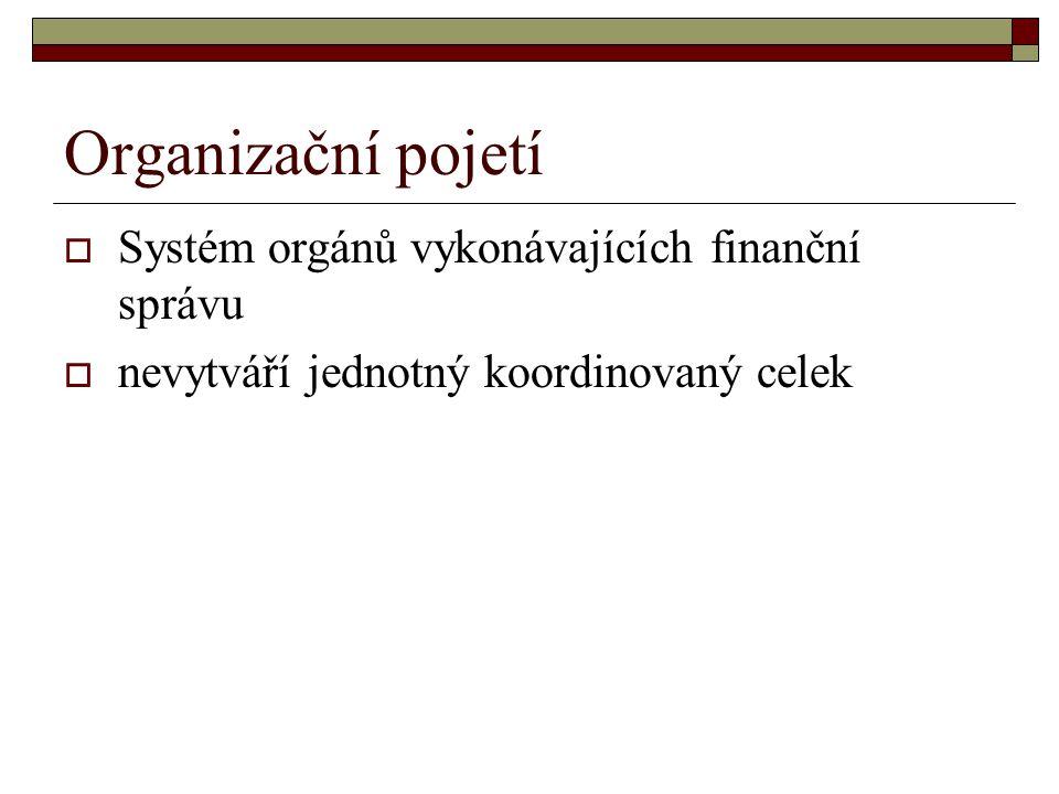 Organizační pojetí  Systém orgánů vykonávajících finanční správu  nevytváří jednotný koordinovaný celek
