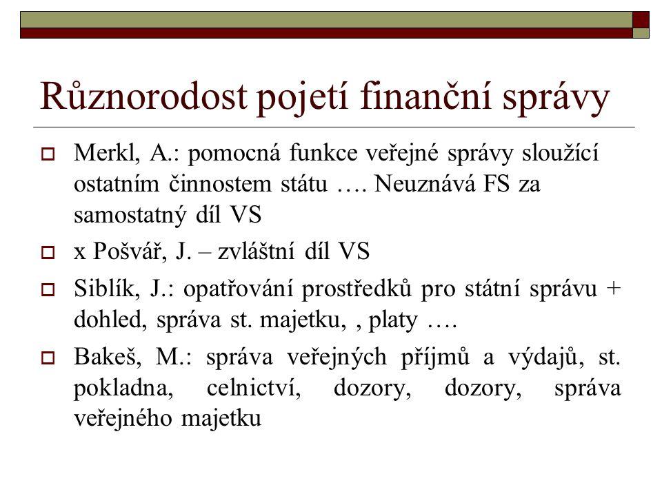 Různorodost pojetí finanční správy  Merkl, A.: pomocná funkce veřejné správy sloužící ostatním činnostem státu ….