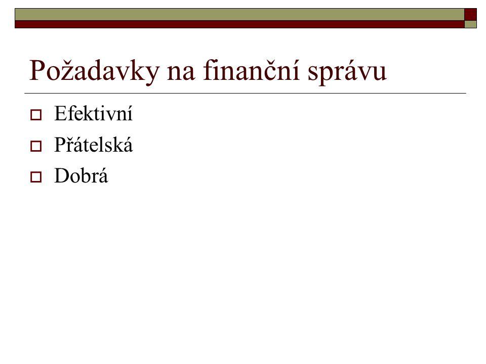 Požadavky na finanční správu  Efektivní  Přátelská  Dobrá