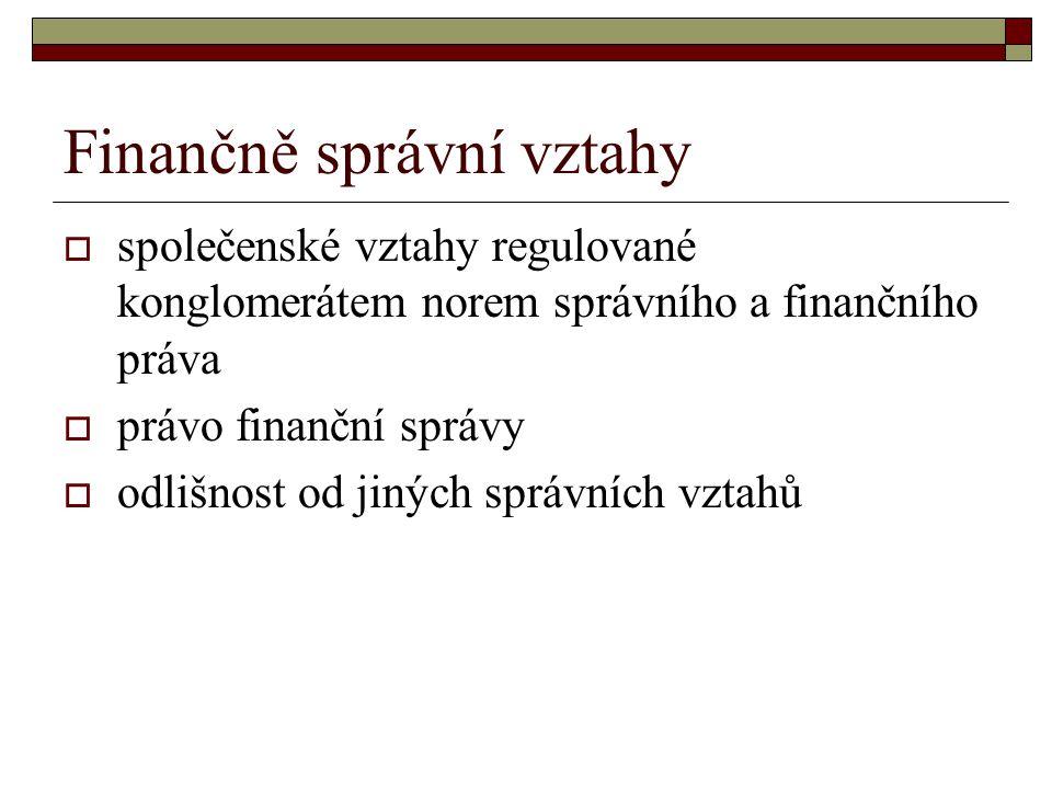 Finančně správní vztahy  společenské vztahy regulované konglomerátem norem správního a finančního práva  právo finanční správy  odlišnost od jiných správních vztahů