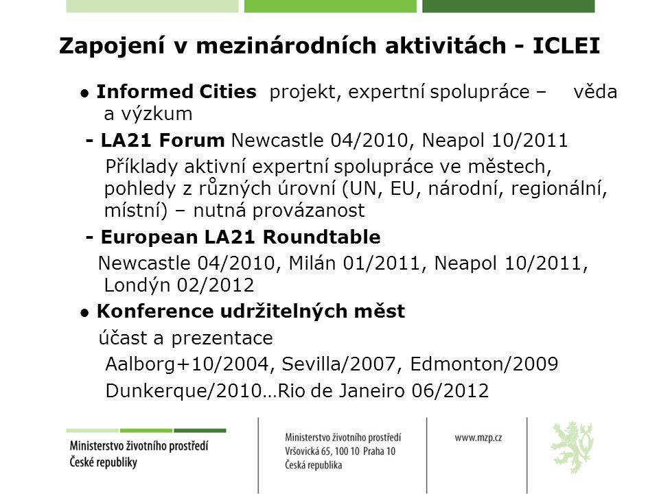 Zapojení v mezinárodních aktivitách - ICLEI ● Informed Cities projekt, expertní spolupráce – věda a výzkum - LA21 Forum Newcastle 04/2010, Neapol 10/2011 Příklady aktivní expertní spolupráce ve městech, pohledy z různých úrovní (UN, EU, národní, regionální, místní) – nutná provázanost - European LA21 Roundtable Newcastle 04/2010, Milán 01/2011, Neapol 10/2011, Londýn 02/2012 ● Konference udržitelných měst účast a prezentace Aalborg+10/2004, Sevilla/2007, Edmonton/2009 Dunkerque/2010…Rio de Janeiro 06/2012