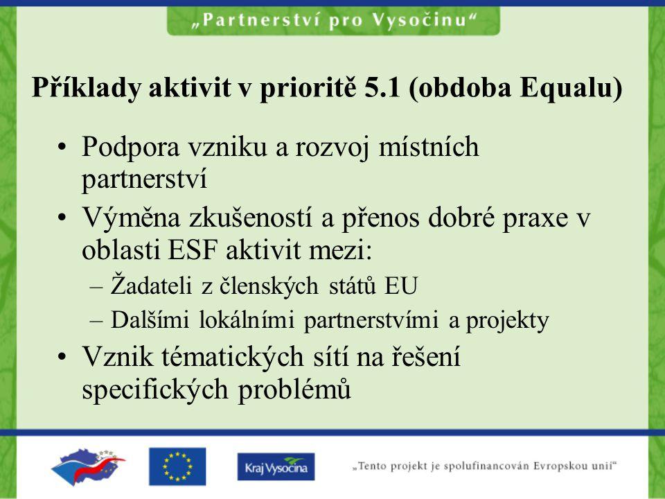Příklady aktivit v prioritě 5.1 (obdoba Equalu) Podpora vzniku a rozvoj místních partnerství Výměna zkušeností a přenos dobré praxe v oblasti ESF aktivit mezi: –Žadateli z členských států EU –Dalšími lokálními partnerstvími a projekty Vznik tématických sítí na řešení specifických problémů