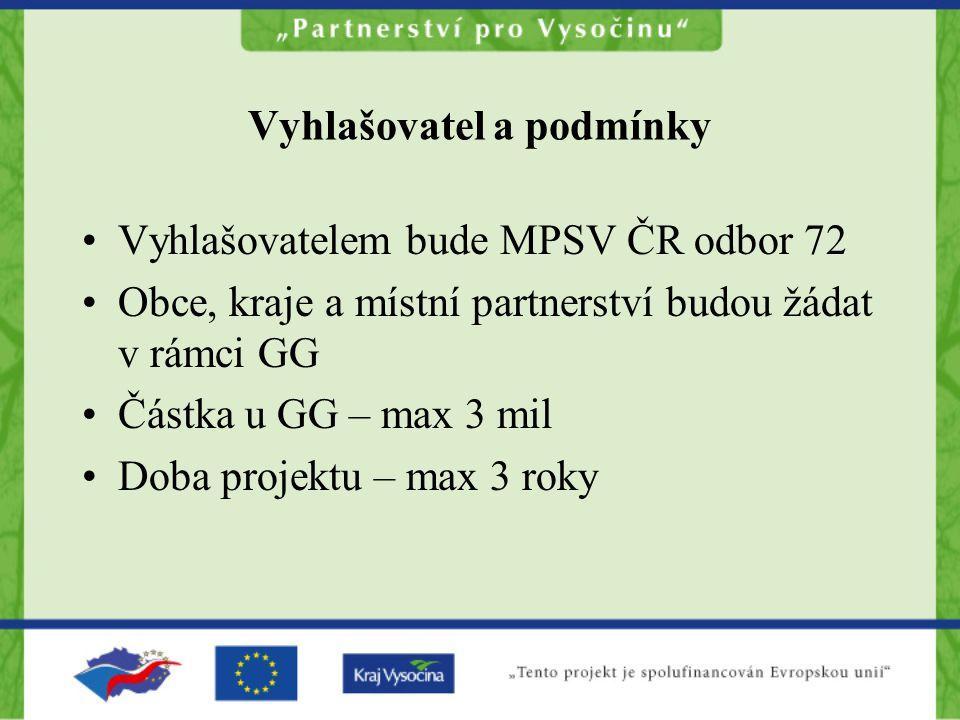 Vyhlašovatel a podmínky Vyhlašovatelem bude MPSV ČR odbor 72 Obce, kraje a místní partnerství budou žádat v rámci GG Částka u GG – max 3 mil Doba projektu – max 3 roky