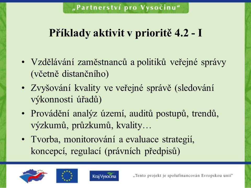 Příklady aktivit v prioritě 4.2 - I Vzdělávání zaměstnanců a politiků veřejné správy (včetně distančního) Zvyšování kvality ve veřejné správě (sledování výkonnosti úřadů) Provádění analýz území, auditů postupů, trendů, výzkumů, průzkumů, kvality… Tvorba, monitorování a evaluace strategií, koncepcí, regulací (právních předpisů)