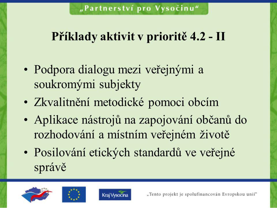 Příklady aktivit v prioritě 4.2 - II Podpora dialogu mezi veřejnými a soukromými subjekty Zkvalitnění metodické pomoci obcím Aplikace nástrojů na zapojování občanů do rozhodování a místním veřejném životě Posilování etických standardů ve veřejné správě