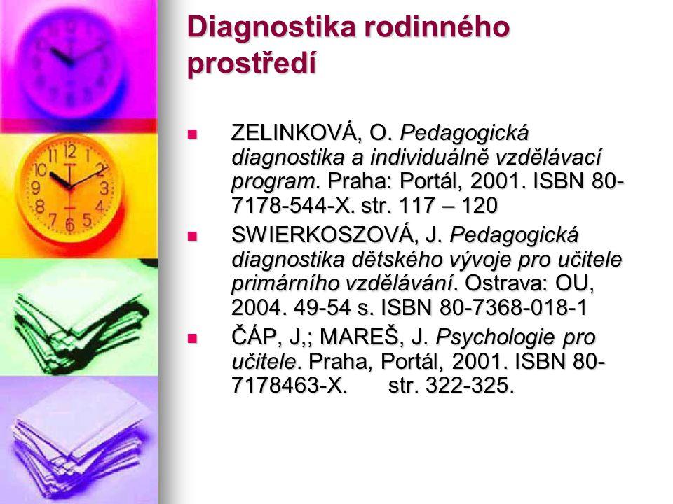 Diagnostika rodinného prostředí ZELINKOVÁ, O. Pedagogická diagnostika a individuálně vzdělávací program. Praha: Portál, 2001. ISBN 80- 7178-544-X. str