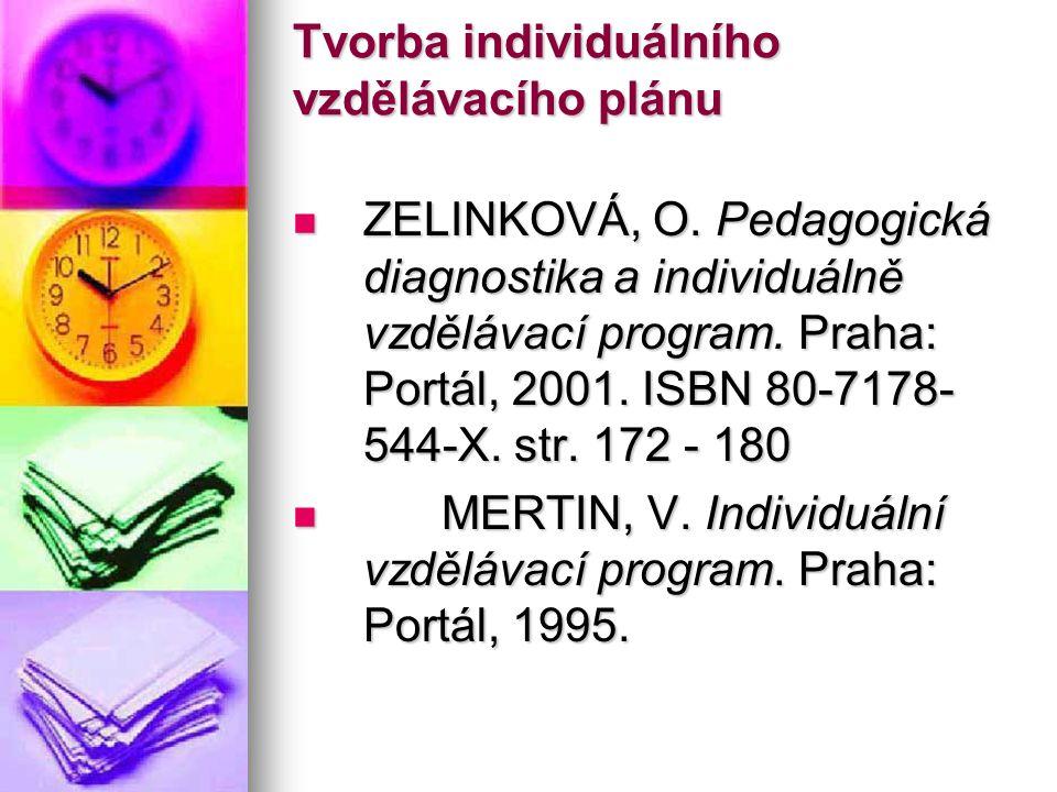 Tvorba individuálního vzdělávacího plánu ZELINKOVÁ, O. Pedagogická diagnostika a individuálně vzdělávací program. Praha: Portál, 2001. ISBN 80-7178- 5