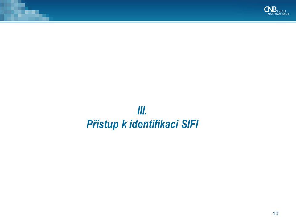10 III. Přístup k identifikaci SIFI