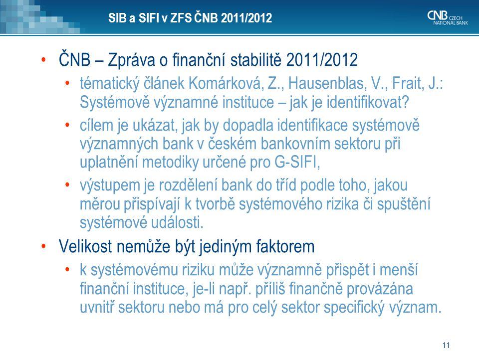 11 SIB a SIFI v ZFS ČNB 2011/2012 ČNB – Zpráva o finanční stabilitě 2011/2012 tématický článek Komárková, Z., Hausenblas, V., Frait, J.: Systémově výz