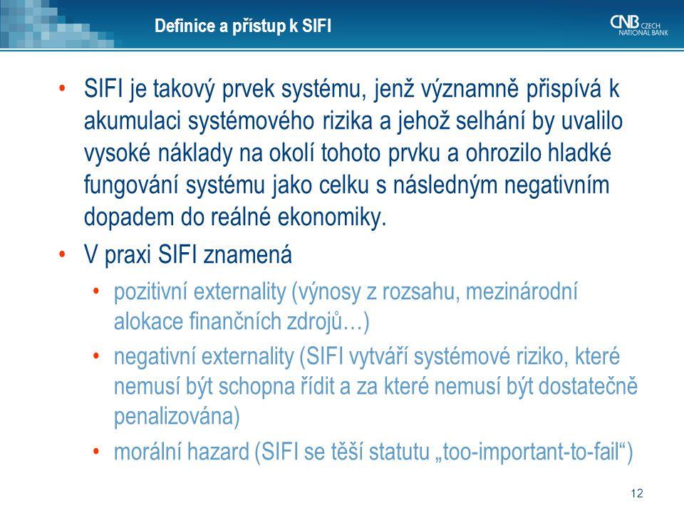 12 Definice a přístup k SIFI SIFI je takový prvek systému, jenž významně přispívá k akumulaci systémového rizika a jehož selhání by uvalilo vysoké nák