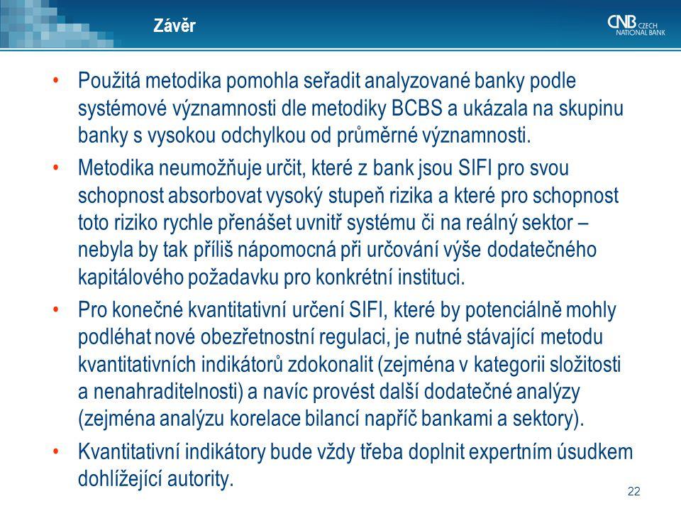 22 Závěr Použitá metodika pomohla seřadit analyzované banky podle systémové významnosti dle metodiky BCBS a ukázala na skupinu banky s vysokou odchylk
