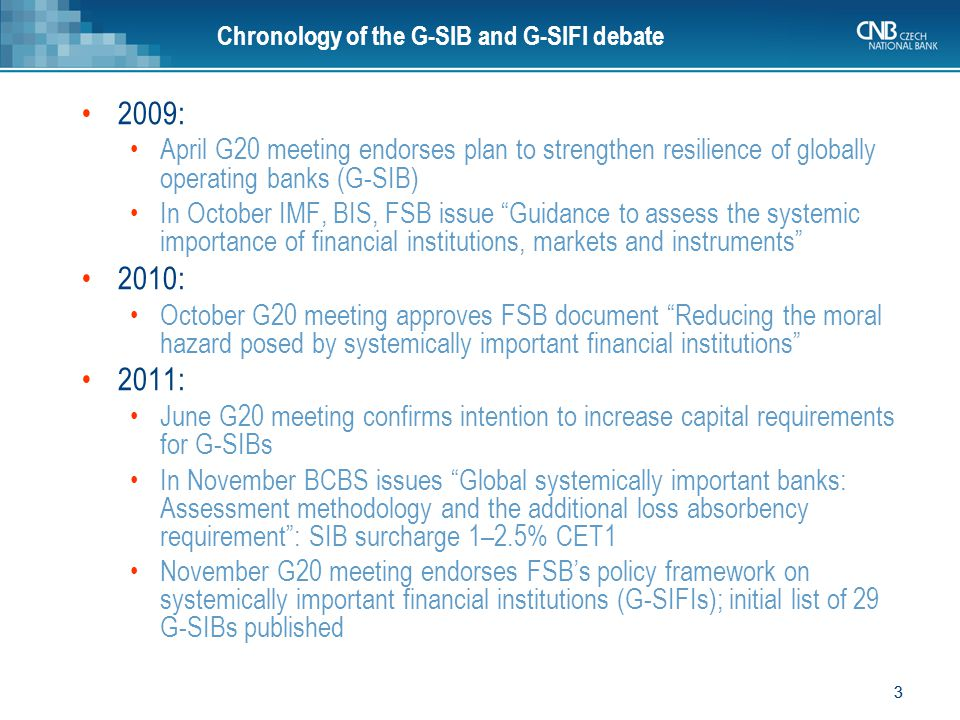 3 3 Chronology of the G-SIB and G-SIFI debate 2009: April G20 meeting endorses plan to strengthen resilience of globally operating banks (G-SIB) In Oc