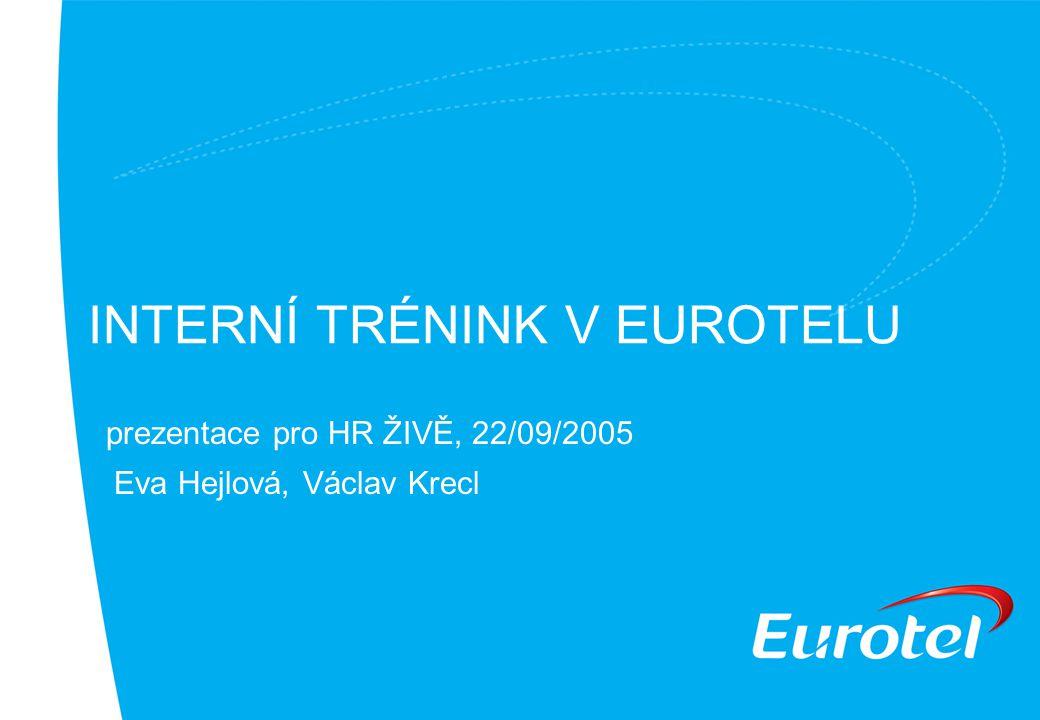 INTERNÍ TRÉNINK V EUROTELU prezentace pro HR ŽIVĚ, 22/09/2005 Eva Hejlová, Václav Krecl