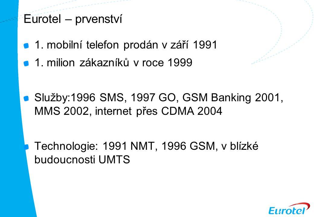Eurotel – prvenství 1. mobilní telefon prodán v září 1991 1.