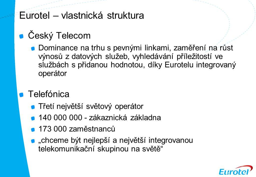 """Eurotel – vlastnická struktura Český Telecom Dominance na trhu s pevnými linkami, zaměření na růst výnosů z datových služeb, vyhledávání příležitostí ve službách s přidanou hodnotou, díky Eurotelu integrovaný operátor Telefónica Třetí největší světový operátor 140 000 000 - zákaznická základna 173 000 zaměstnanců """"chceme být nejlepší a největší integrovanou telekomunikační skupinou na světě"""