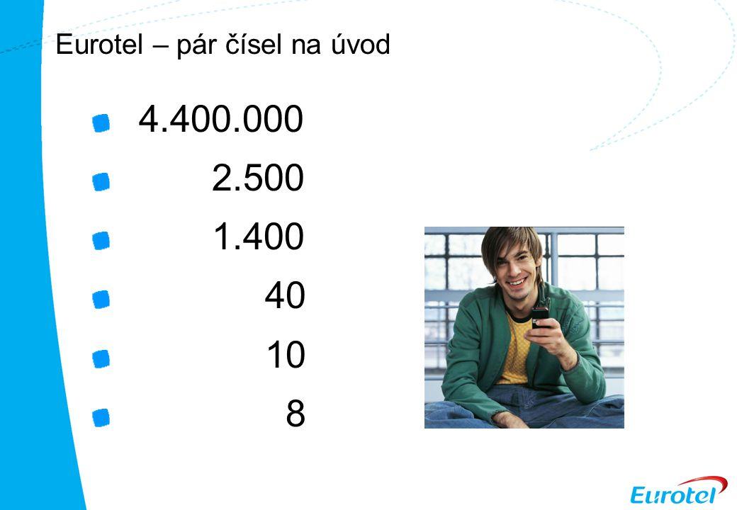 Eurotel – pár čísel na úvod 4.400.000 2.500 1.400 40 10 8
