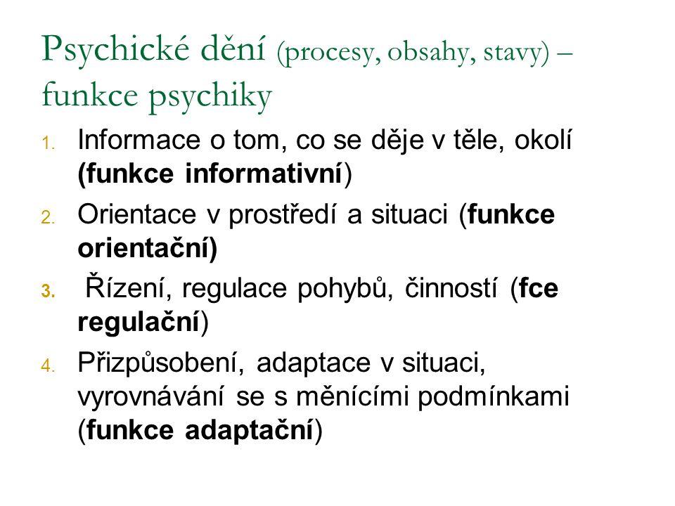 Psychické dění (procesy, obsahy, stavy) – funkce psychiky 1. Informace o tom, co se děje v těle, okolí (funkce informativní) 2. Orientace v prostředí