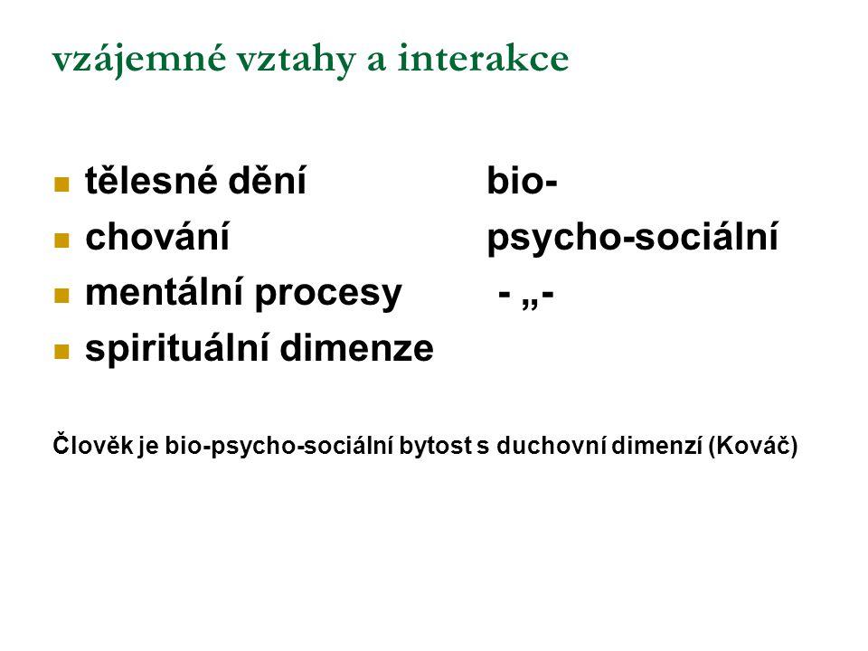 """vzájemné vztahy a interakce tělesné děníbio- chovánípsycho-sociální mentální procesy - """"- spirituální dimenze Člověk je bio-psycho-sociální bytost s d"""