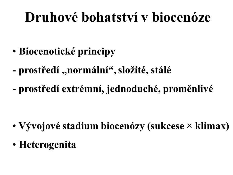 """Druhové bohatství v biocenóze Biocenotické principy - prostředí """"normální , složité, stálé - prostředí extrémní, jednoduché, proměnlivé Vývojové stadium biocenózy (sukcese × klimax) Heterogenita"""