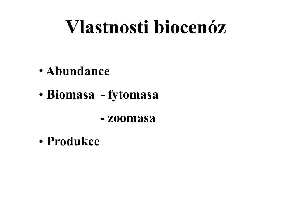 Vlastnosti biocenóz Abundance Biomasa - fytomasa - zoomasa Produkce