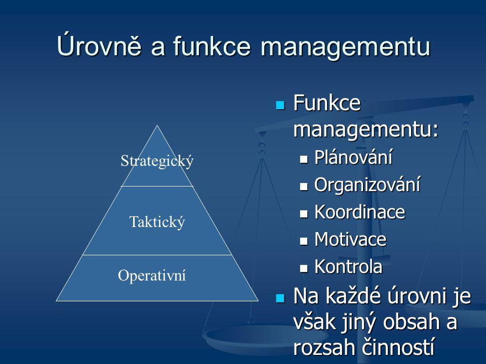 Příklady rozhodování různých úrovní managementu Strategická úroveň: který výrobek vyrábět nebo vyřadit z výroby, expanze na nové trhy, fúze podniků,… Strategická úroveň: který výrobek vyrábět nebo vyřadit z výroby, expanze na nové trhy, fúze podniků,… Taktická úroveň: design a vlastnosti výrobku (barva, materiál,…) Taktická úroveň: design a vlastnosti výrobku (barva, materiál,…) Operativní úroveň: jak zajistit materiál pro výrobu, personální zajištění provozu Operativní úroveň: jak zajistit materiál pro výrobu, personální zajištění provozu
