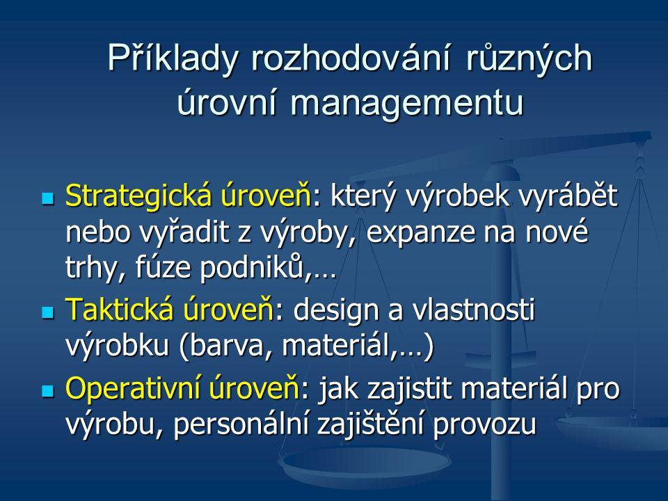 Strategické řízení Úkolem vrcholového managementu.