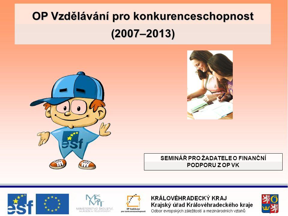 OP Vzdělávání pro konkurenceschopnost (2007–2013) SEMINÁŘ PRO ŽADATELE O FINANČNÍ PODPORU Z OP VK