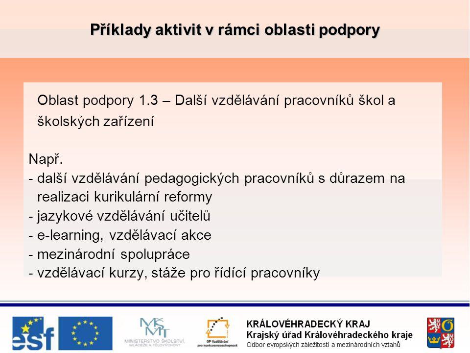 Příklady aktivit v rámci oblasti podpory Oblast podpory 1.3 – Další vzdělávání pracovníků škol a školských zařízení Např.