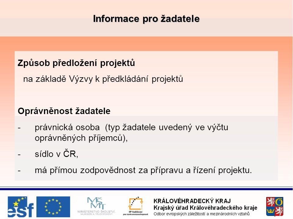 Informace pro žadatele Způsob předložení projektů na základě Výzvy k předkládání projektů Oprávněnost žadatele -právnická osoba (typ žadatele uvedený ve výčtu oprávněných příjemců), -sídlo v ČR, -má přímou zodpovědnost za přípravu a řízení projektu.