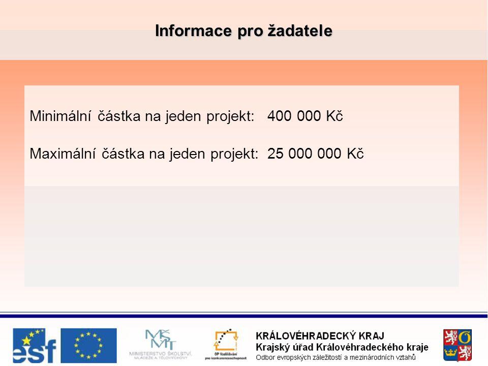 Informace pro žadatele Minimální částka na jeden projekt: 400 000 Kč Maximální částka na jeden projekt: 25 000 000 Kč