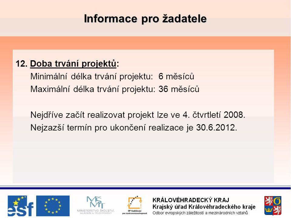 Informace pro žadatele 12.Doba trvání projektů: Minimální délka trvání projektu: 6 měsíců Maximální délka trvání projektu: 36 měsíců Nejdříve začít realizovat projekt lze ve 4.