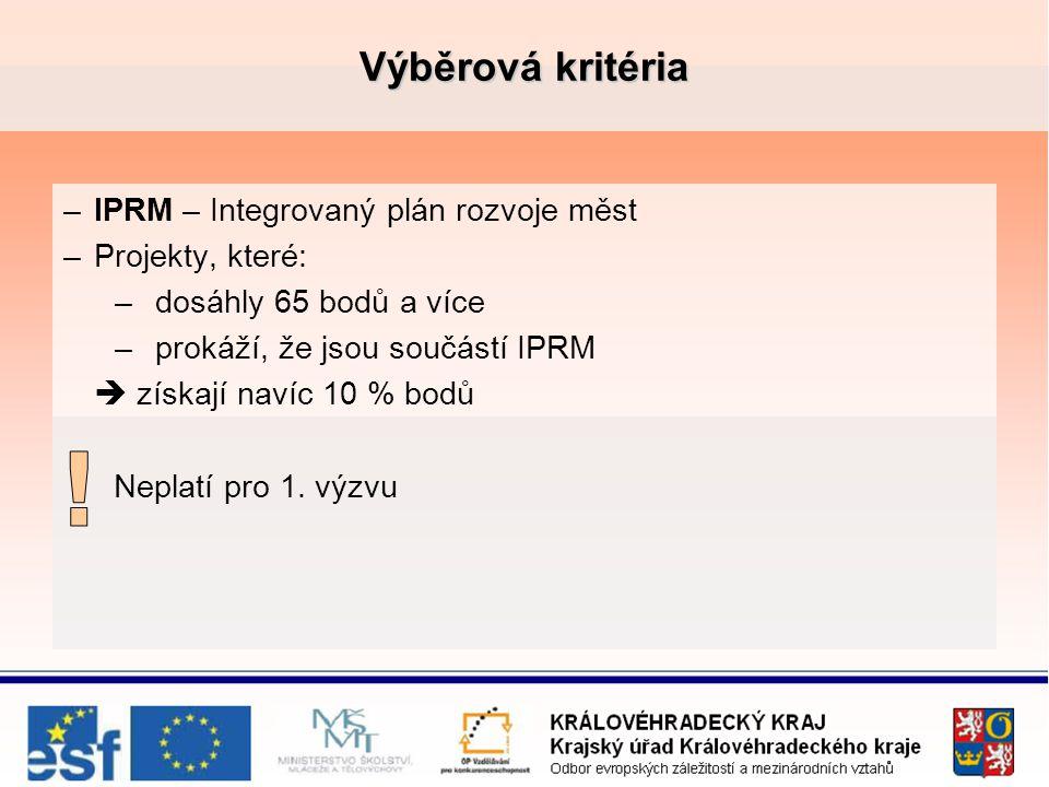 Výběrová kritéria –IPRM – Integrovaný plán rozvoje měst –Projekty, které: –dosáhly 65 bodů a více –prokáží, že jsou součástí IPRM  získají navíc 10 % bodů Neplatí pro 1.