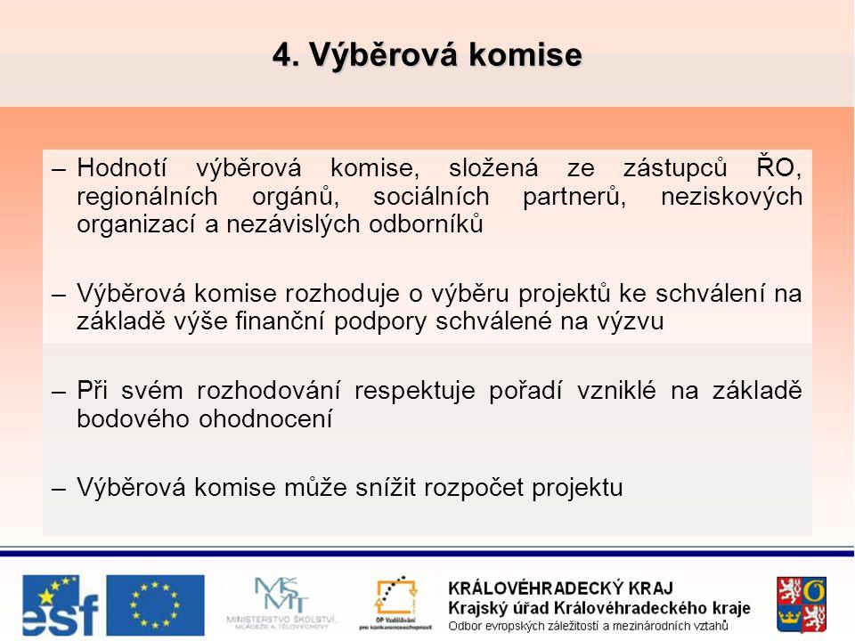 4. Výběrová komise –Hodnotí výběrová komise, složená ze zástupců ŘO, regionálních orgánů, sociálních partnerů, neziskových organizací a nezávislých od