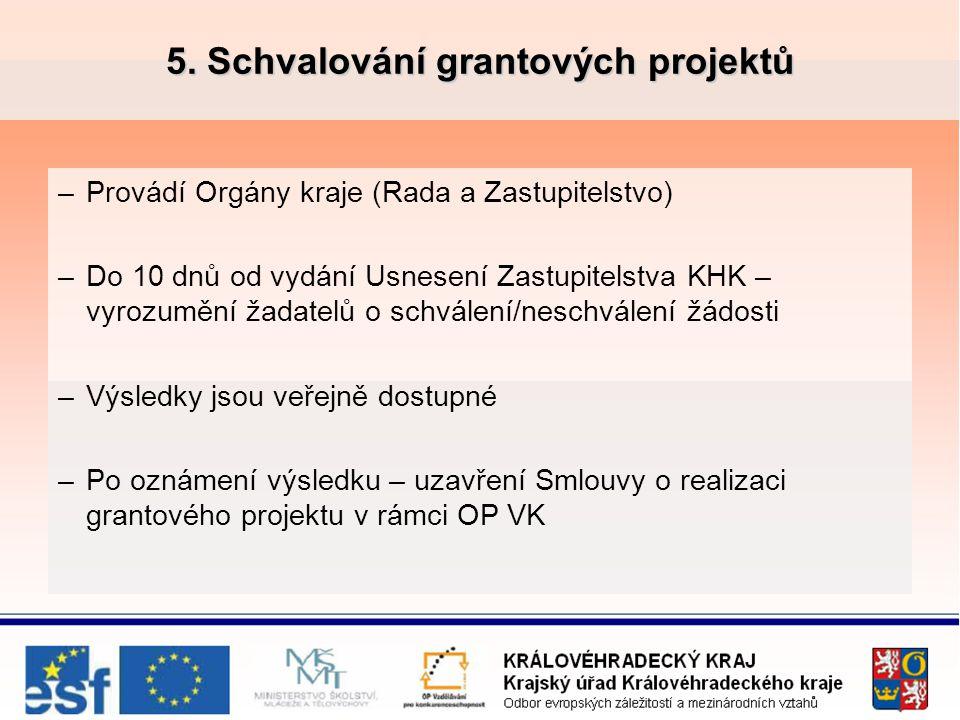 5. Schvalování grantových projektů –Provádí Orgány kraje (Rada a Zastupitelstvo) –Do 10 dnů od vydání Usnesení Zastupitelstva KHK – vyrozumění žadatel