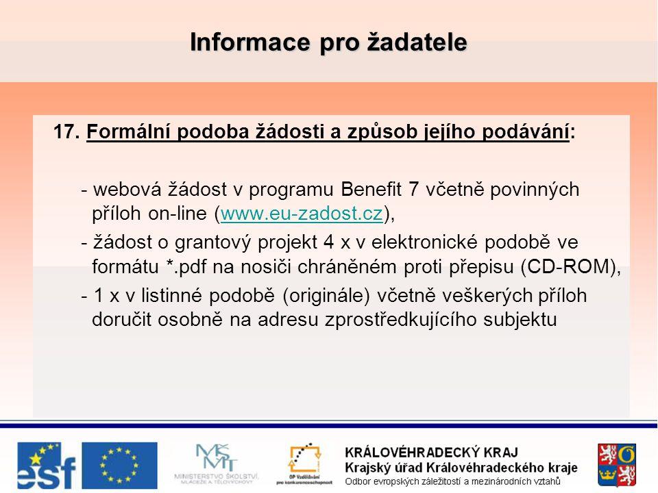 Informace pro žadatele 17.