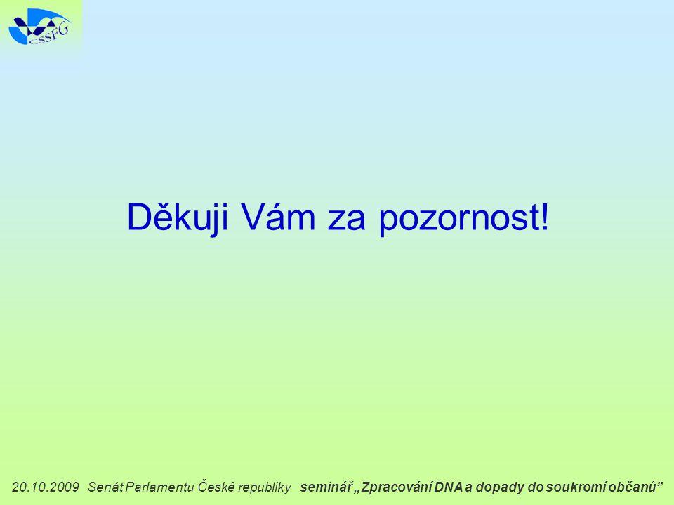 """20.10.2009 Senát Parlamentu České republiky seminář """"Zpracování DNA a dopady do soukromí občanů Děkuji Vám za pozornost!"""