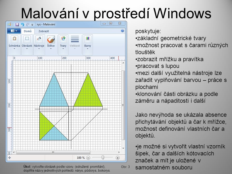 Malování v prostředí Windows poskytuje: základní geometrické tvary možnost pracovat s čarami různých tlouštěk zobrazit mřížku a pravítka pracovat s lupou mezi další využitelná nástroje lze zařadit vyplňování barvou – práce s plochami klonování části obrázku a podle záměru a nápaditosti i další Jako nevýhoda se ukázala absence přichytávání objektů a čar k mřížce, možnost definování vlastních čar a objektů.