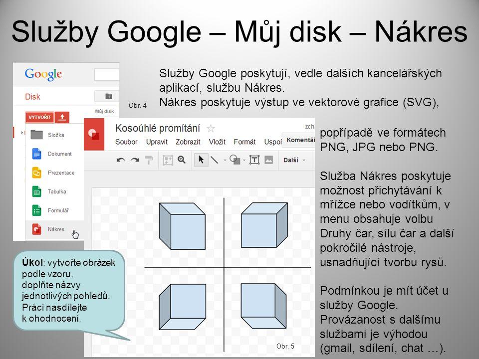 Služby Google – Můj disk – Nákres Služby Google poskytují, vedle dalších kancelářských aplikací, službu Nákres. Nákres poskytuje výstup ve vektorové g