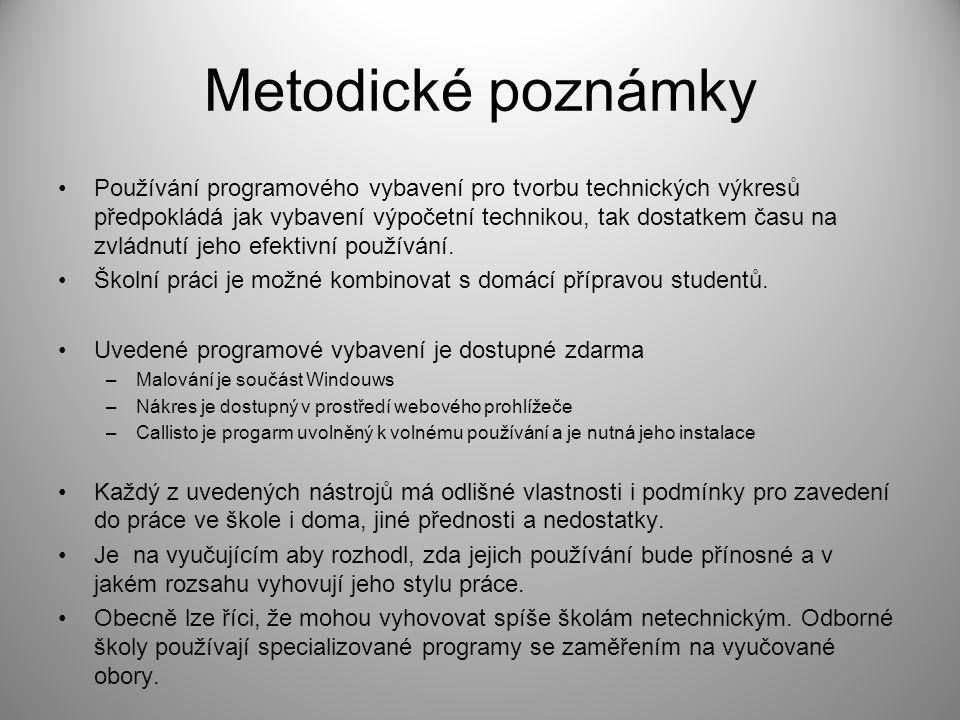 Metodické poznámky Používání programového vybavení pro tvorbu technických výkresů předpokládá jak vybavení výpočetní technikou, tak dostatkem času na