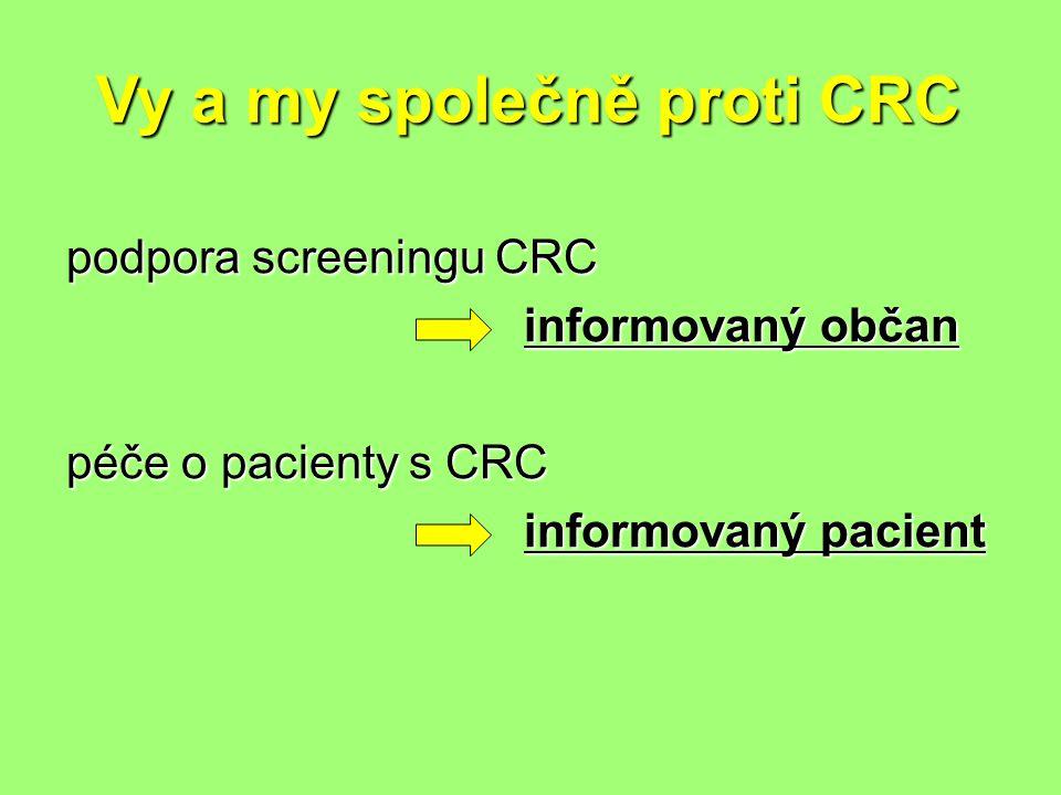 Vy a my společně proti CRC podpora screeningu CRC informovaný občan informovaný občan péče o pacienty s CRC informovaný pacient informovaný pacient