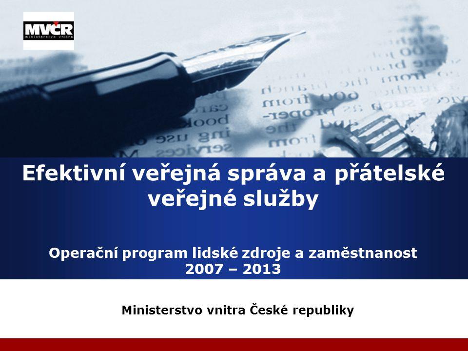 Ministerstvo vnitra Globální cíl programu  Zvýšit zaměstnanost a zaměstnatelnost lidí v ČR na úroveň průměru 15 nejlepších zemí EU  Celková alokace na program 2 156 839 507 EUR