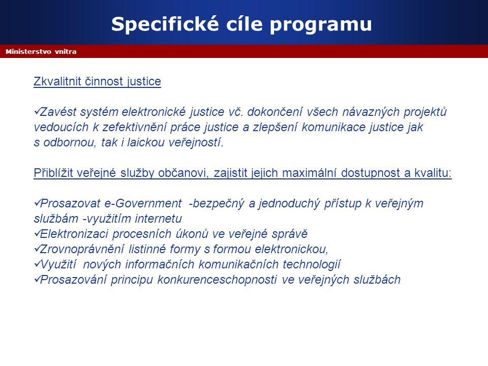 Ministerstvo vnitra Specifické cíle programu Zkvalitnit činnost justice Zavést systém elektronické justice vč. dokončení všech návazných projektů vedo