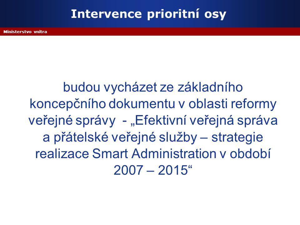 """Ministerstvo vnitra Intervence prioritní osy budou vycházet ze základního koncepčního dokumentu v oblasti reformy veřejné správy - """"Efektivní veřejná správa a přátelské veřejné služby – strategie realizace Smart Administration v období 2007 – 2015"""