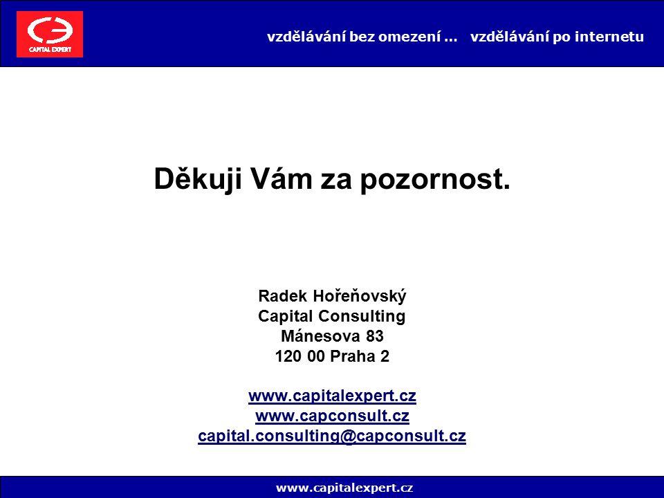 vzdělávání bez omezení … vzdělávání po internetu Radek Hořeňovský Capital Consulting Mánesova 83 120 00 Praha 2 www.capitalexpert.cz www.capconsult.cz